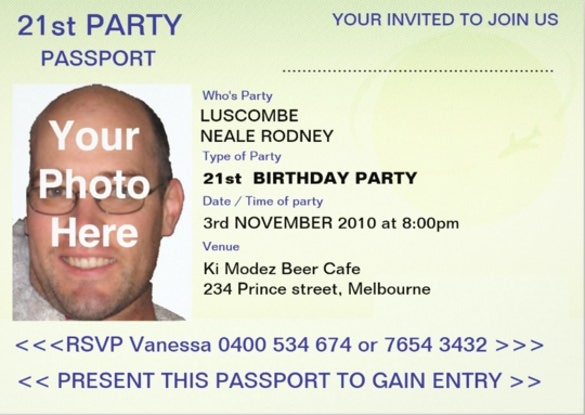 Party Passport 5x7 Paper Invitation Card