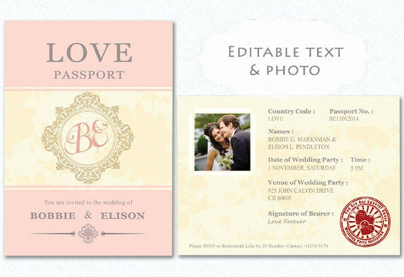 wedding passport postcard save the date vintage horizontal