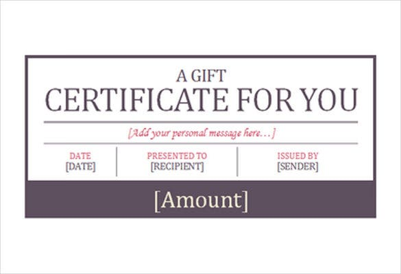 Gift Coupon Template Free Gift Certificate Template For – Word Gift Card Template