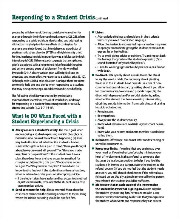 student crisis plan template
