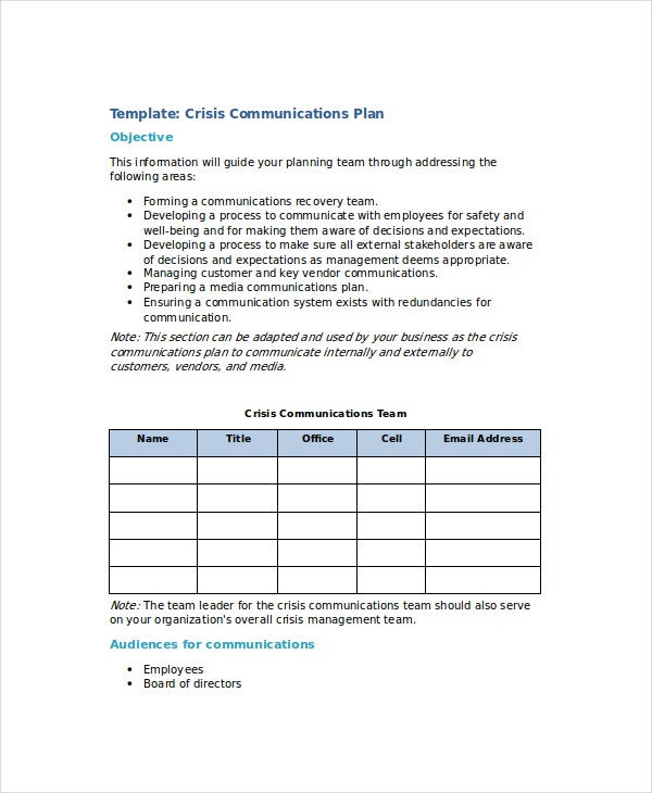 crisis communications plan template