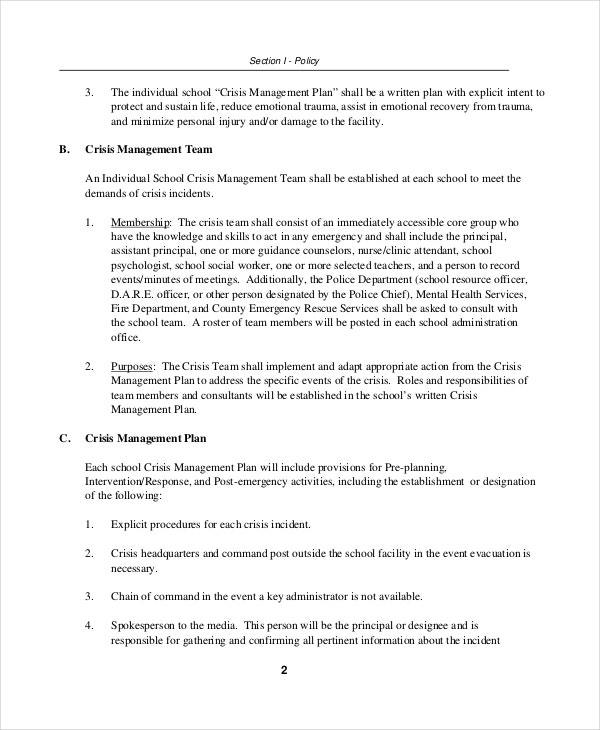 Crisis plan template 9 free word pdf documents for Sample crisis management plan template