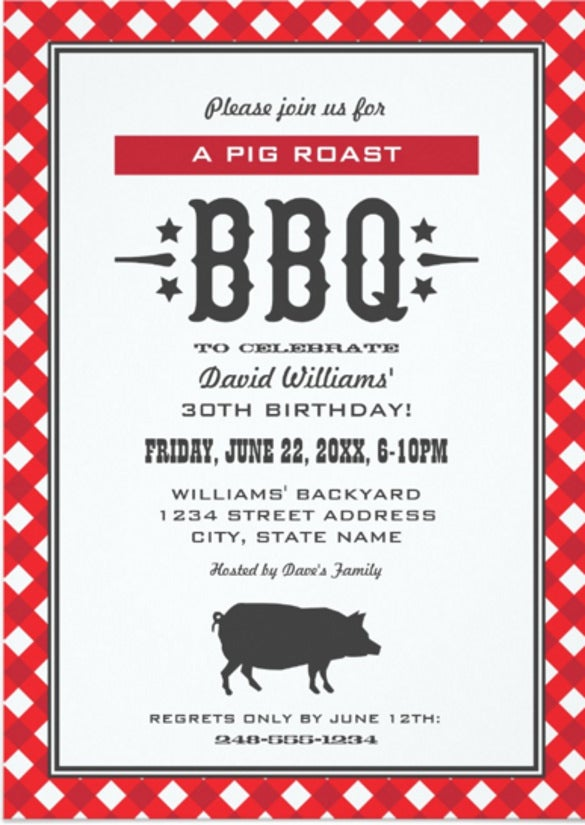 Barbeque Invitation Templates  Free Sample Example Format