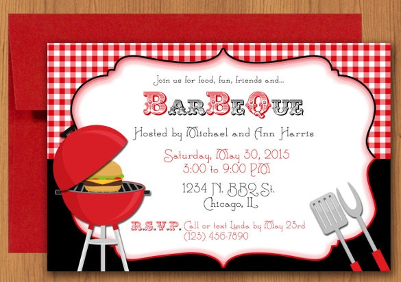 family bbq invitation editable template