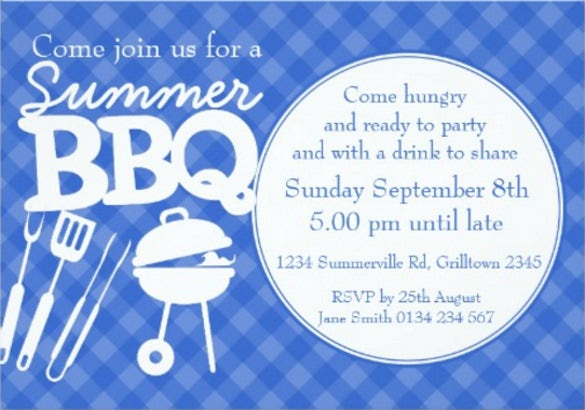 summer bbq barbeque party invite blue white