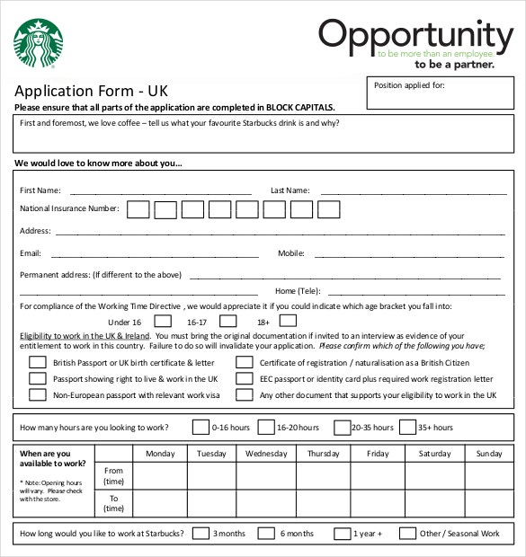 free sample tarbucks restaurant employment application download