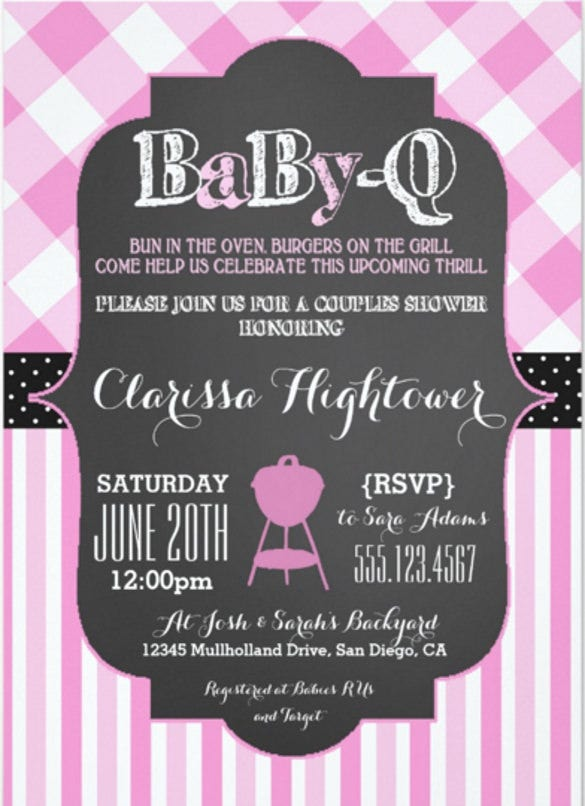 babyq bbq baby shower invitation couples girl pink