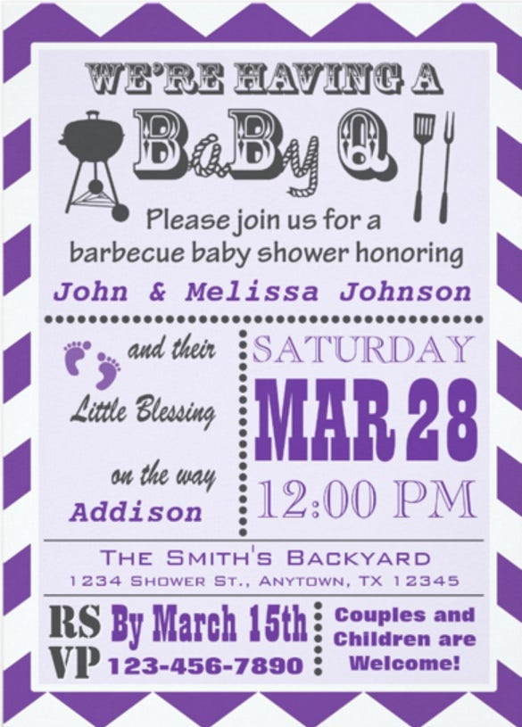 purple barbecue babyq baby shower invitations