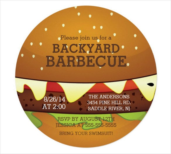 cute burger summer bbq party invitation