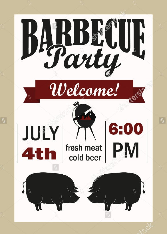 barbecue party invitation vector template