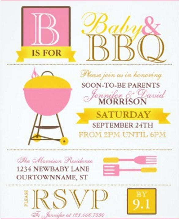 barbeque babyq pink baby shower invitations