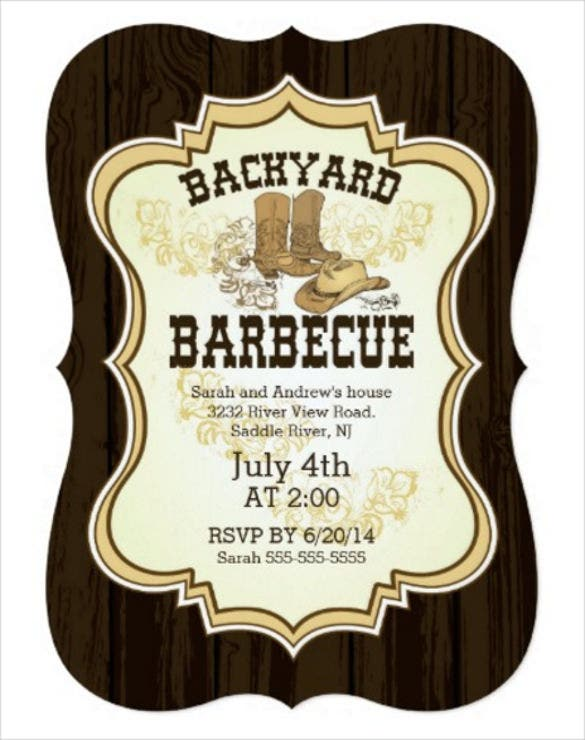 cowboy boots western backyard barbecue invitation