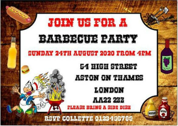 personalised invitations bbq party birthday