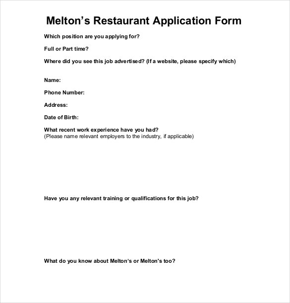 Restaurant Application Templates  Free Sample Example Format