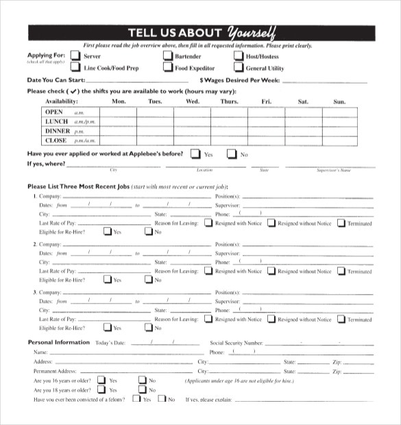 Permalink to Restaurant Employment Application Form