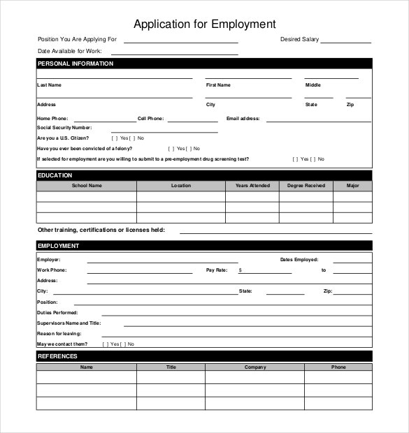 restaurant job application of employement pdf download