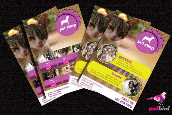 free pets animals shop brochure psd template