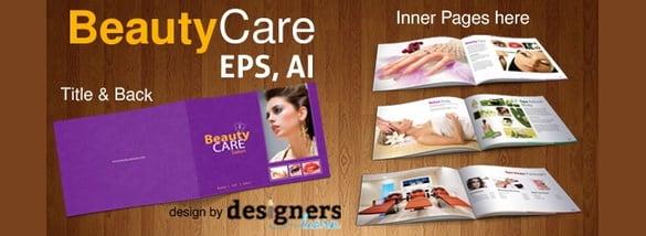 free beauty care salon brochure template eps format