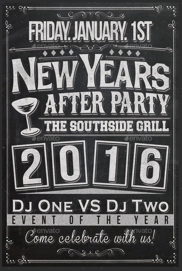 Amazing New Years Chalkboard Flyer Template Intended Flyer Invitation Templates Free