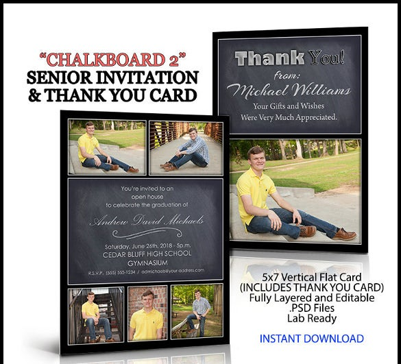 21 chalkboard invitation templates free sample example for Free senior templates for photoshop