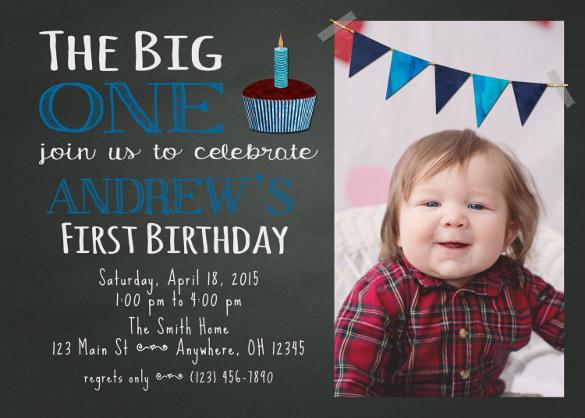 chalkboard first birthday invitation template