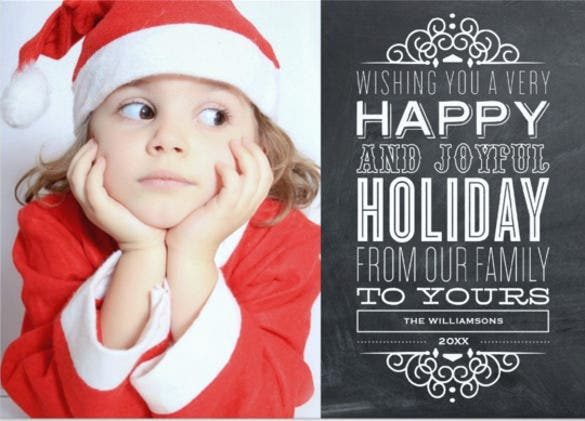 red chalkboard holiday photo card