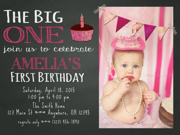 Chalkboard Invitation Templates Free Sample Example Format - First birthday invitation cards templates free