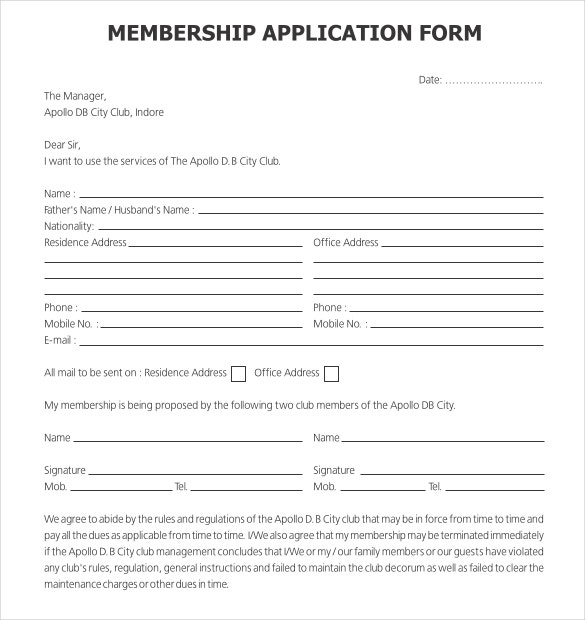 Free Sample Gold Club Membershipn Application Form Download