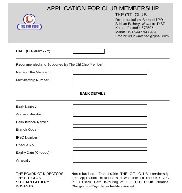 Example Citi Club Membership Application Form Download