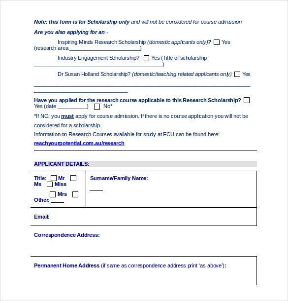 School Applicaton Form Word Document Free Download