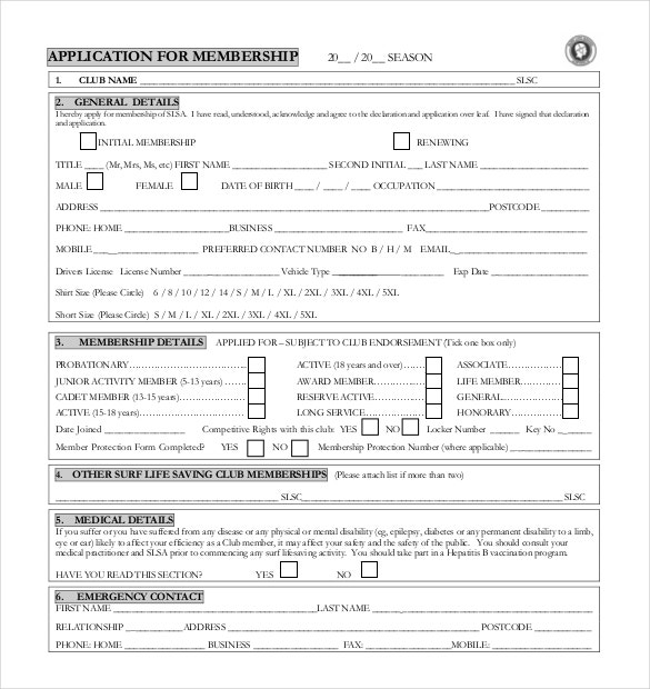 Sample Club Membership Application Form Free Download
