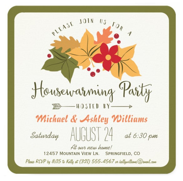 Elegant Fall Leaves Floral Housewarming Party Invitation