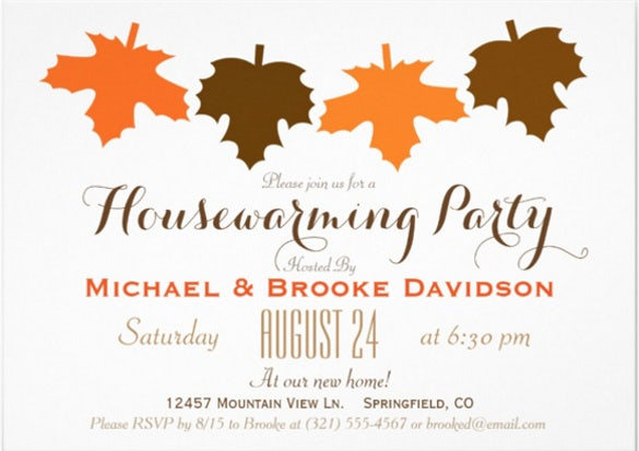 28 housewarming invitation templates free sample example format orange brown fall leaves housewarming party 57 paper invitation card stopboris