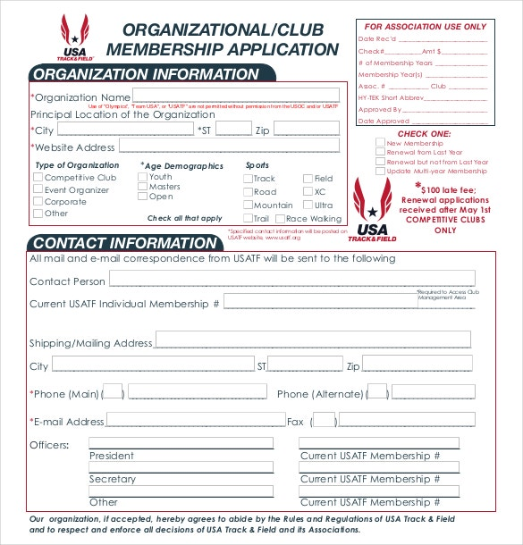 Organizational Club Membership Application PDF Download