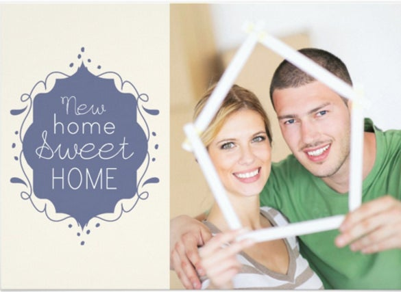 housewarming party photo invite blue