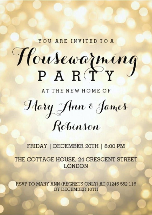 housewarming party gold glitter lights 5x7 paper invitation card