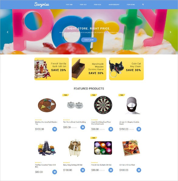 surprise gift shop mobile php opencart template