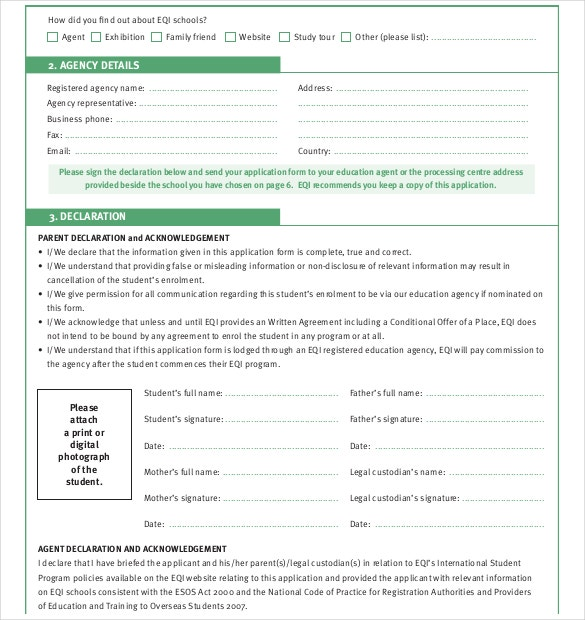 Student School Application Form PDF Free Download