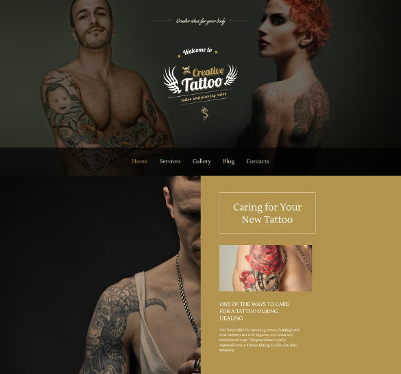 tattoo salon responsive moto cms 3 mobile php template