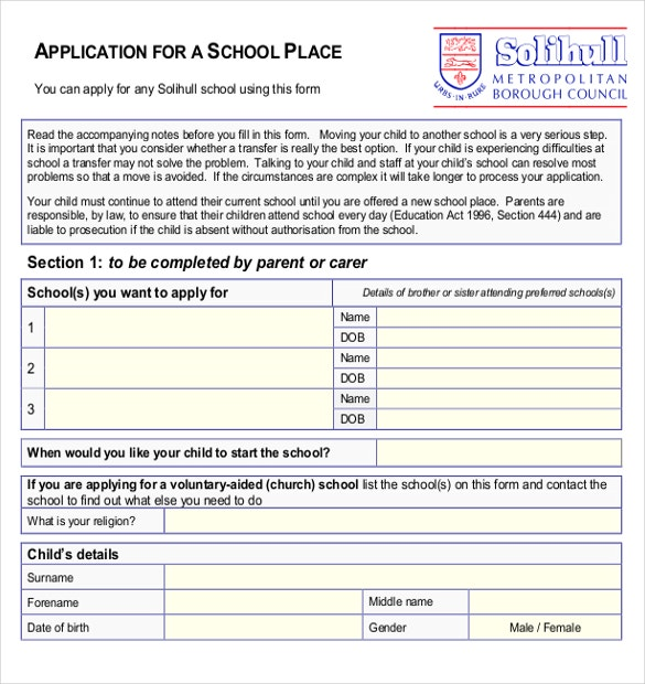 Application for a School Place PDF Format Download
