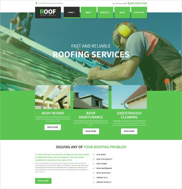 roof repair wordpress php mobile theme