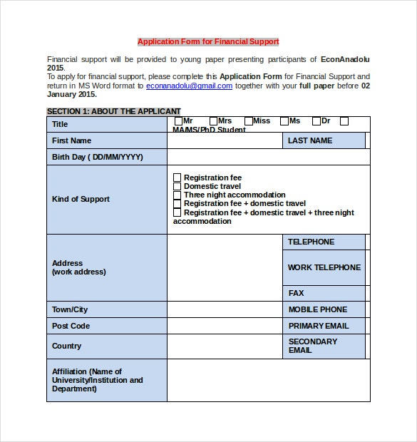 Club Application Form for Finacial Support Word Document Download