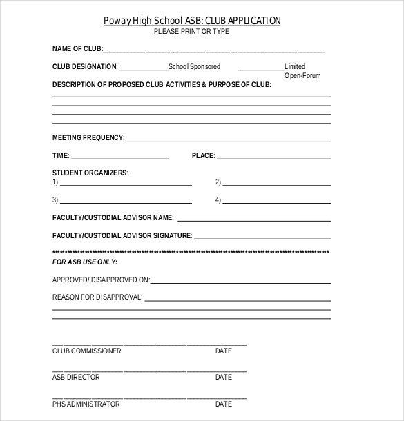 15 Club Application Templates Free Sample Example Format – School Application Template