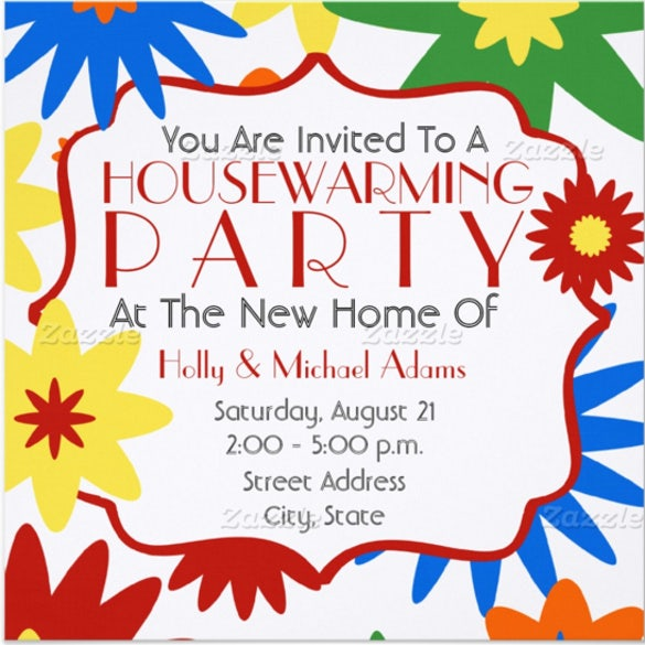 bright flowers housewarming party invitation