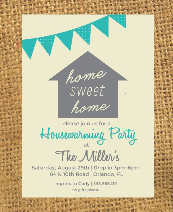 green housewarming invitation