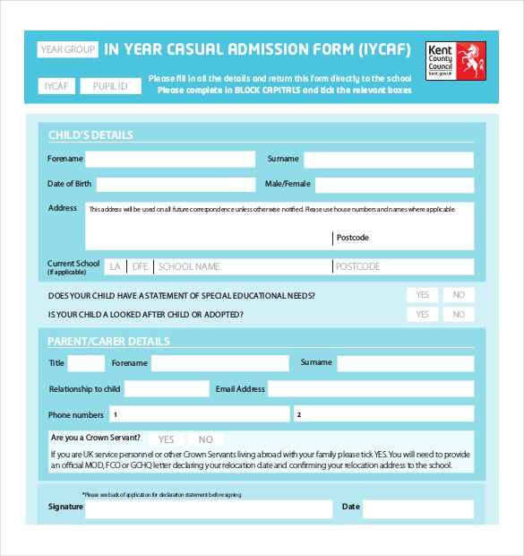 10 School Application Templates Free Sample Example Format – Enrolment Form Template