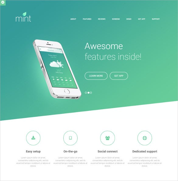 responsive mobile app landing php html theme