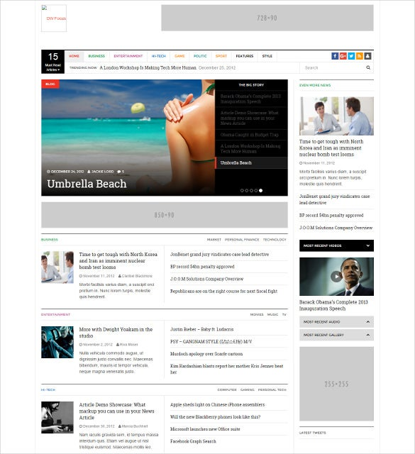 mobile responsive wordpress news php template