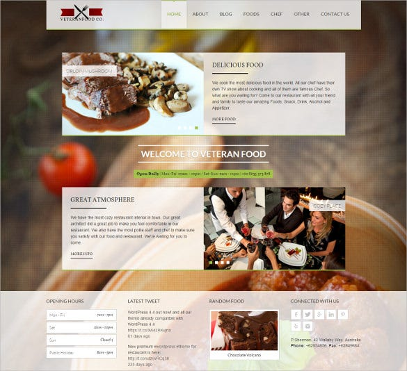 food wordpress mobile php theme