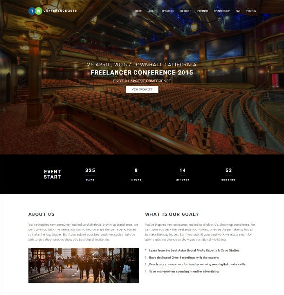 free premium responsive mobile event planning html5 php template